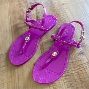Coach Jelly Pier Turnlock Sandal in Magenta Berry